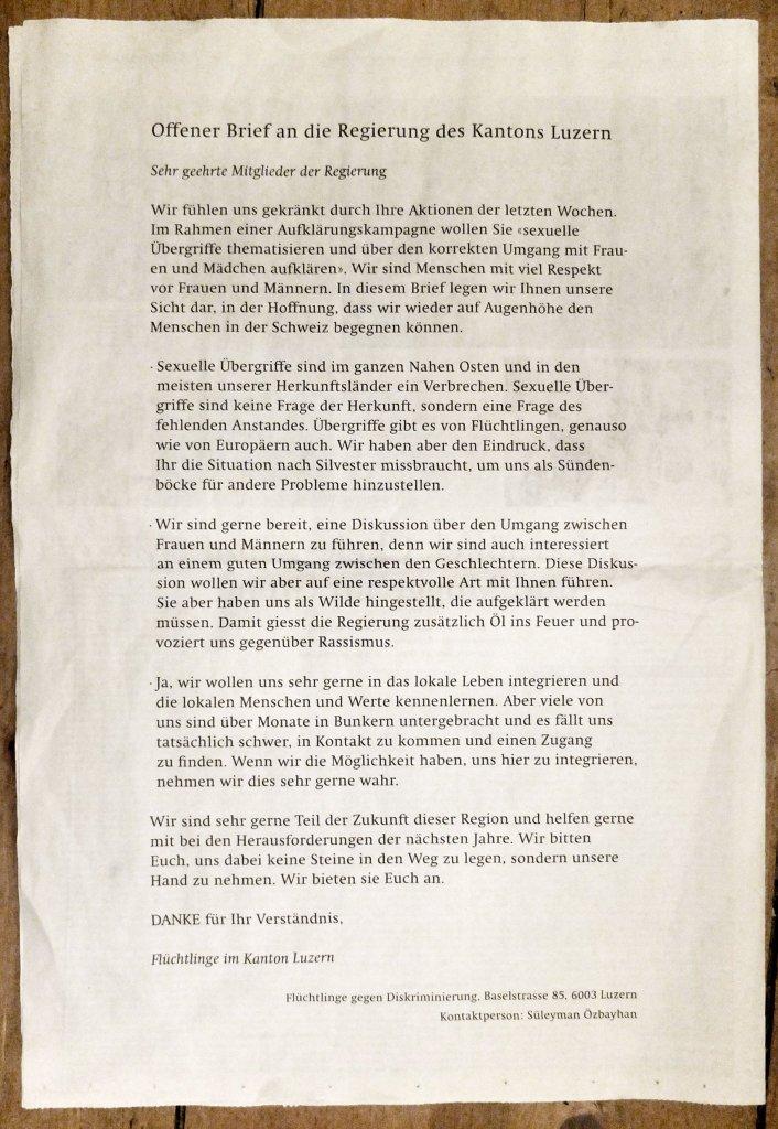 Offener Brief an die Regierung des Kantons Luzern