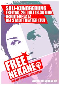 Freiheit für Nekane! Kundgebung am Freitag, 29. Juli 2016 in Luzern