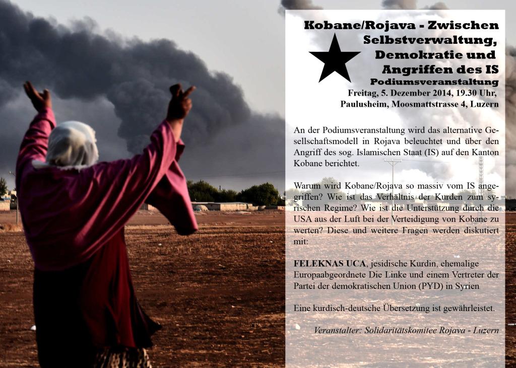 Podiumsdiskussion: Kobane/Rojava – Zwischen Selbstverwaltung, Demokratie und Angriffen des IS