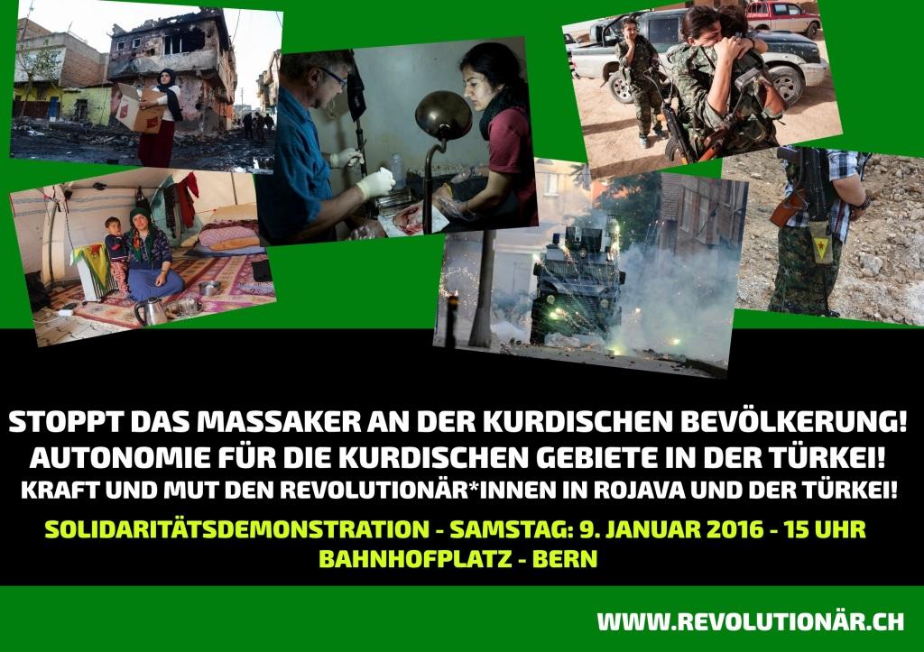 """DEMO: """"Stoppt den Krieg gegen die kurdische Bevölkerung in der Türkei! – Solidarität mit den Revolutionär*innen in Rojava und der Türkei!"""""""