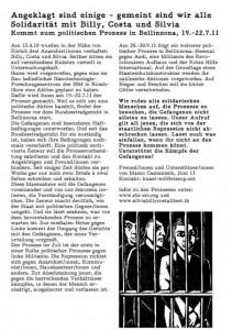 Prozess in Bellinzona am 19/20/22 Juli gegen Billy, Costa und Silvia