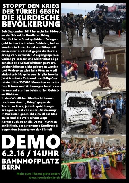 Stoppt den Krieg gegen die kurdische Bevölkerung! Zweite Demo in Bern!