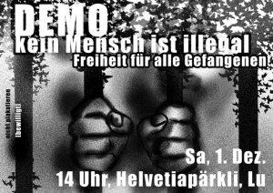 """Demo """"Kein Mensch ist illegal"""" am 1. Dezember in Luzern"""