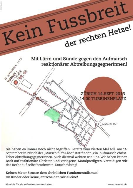 14.09, ZH: Kein Fussbreit der rechten Hetze!