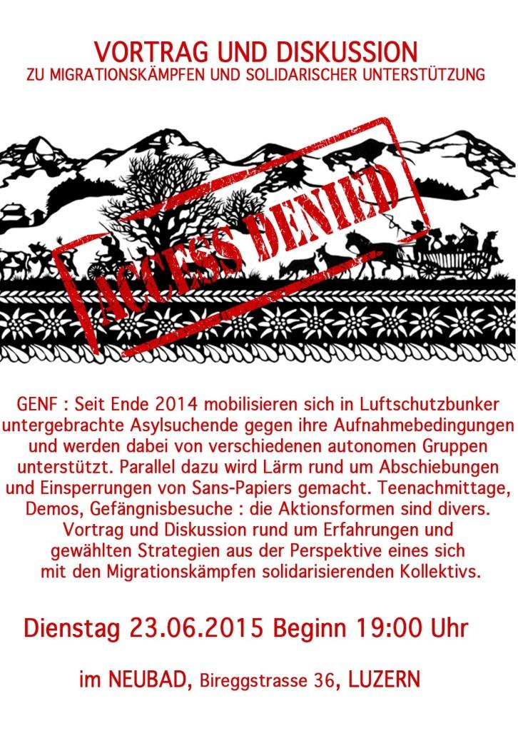 """23/06/15 infoveranstaltung zu """"MIGRATIONSKAEMPFEN"""" & """"SOLDIARISCHER UNTERSTUETZUNG"""" @ neubad ab 19:00"""