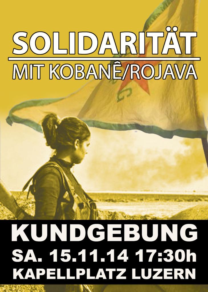 """Kundgebung """"Solidarität mit Rojava/Kobane"""" am Samstag in Luzern"""