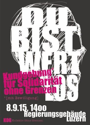 Kundgebung für Solidarität ohne Grenzen in Luzern am 8.9.15