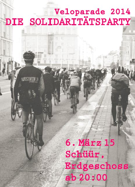 """""""Veloparade – Die Solidaritätsparty"""" am 6. März in der Schüür"""