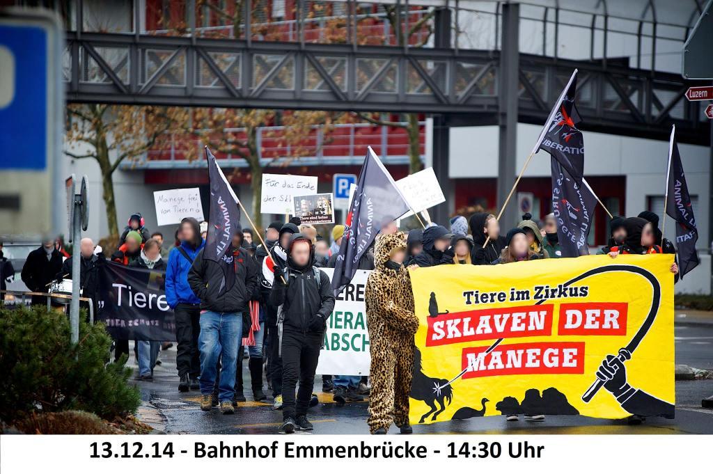 Demo für Zirkus ohne Tiere am 13. Dezember in Emmenbrücke